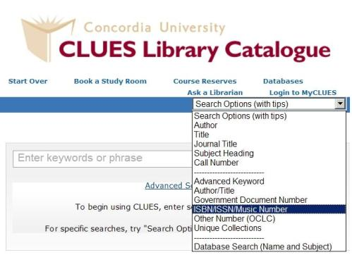 isbn search option in CLUES